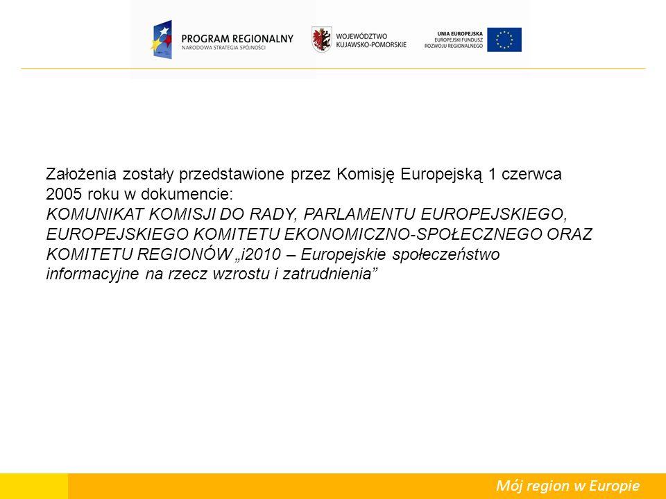 """Mój region w Europie Założenia zostały przedstawione przez Komisję Europejską 1 czerwca 2005 roku w dokumencie: KOMUNIKAT KOMISJI DO RADY, PARLAMENTU EUROPEJSKIEGO, EUROPEJSKIEGO KOMITETU EKONOMICZNO-SPOŁECZNEGO ORAZ KOMITETU REGIONÓW """"i2010 – Europejskie społeczeństwo informacyjne na rzecz wzrostu i zatrudnienia"""
