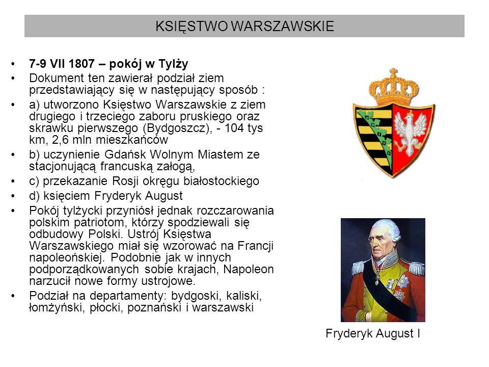 KSIĘSTWO WARSZAWSKIE 7-9 VII 1807 – pokój w Tylży Dokument ten zawierał podział ziem przedstawiający się w następujący sposób : a) utworzono Księstwo
