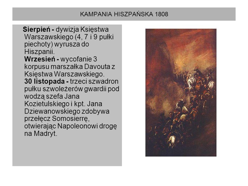KAMPANIA HISZPAŃSKA 1808 Sierpień - dywizja Księstwa Warszawskiego (4, 7 i 9 pułki piechoty) wyrusza do Hiszpanii. Wrzesień - wycofanie 3 korpusu mars
