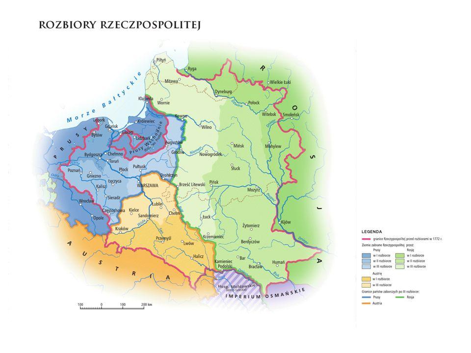 Postawy Polaków wobec zaborców Różnicowały się w zależności od zmian w warunkach życia i stopnia wyrobienia politycznego najliczniejsza część pozostała bierna: - kosmopolityczna arystokracja - średniozamożna szlachta – wycofała się z życia publicznego, wybierając ucieczkę na wieś, korzystała ze sprzyjającej koniunktury gospodarczej - chłopi nie odczuli większej zmiany w swojej egzystencji niewielką grupę cechował lojalizm: - A.J.
