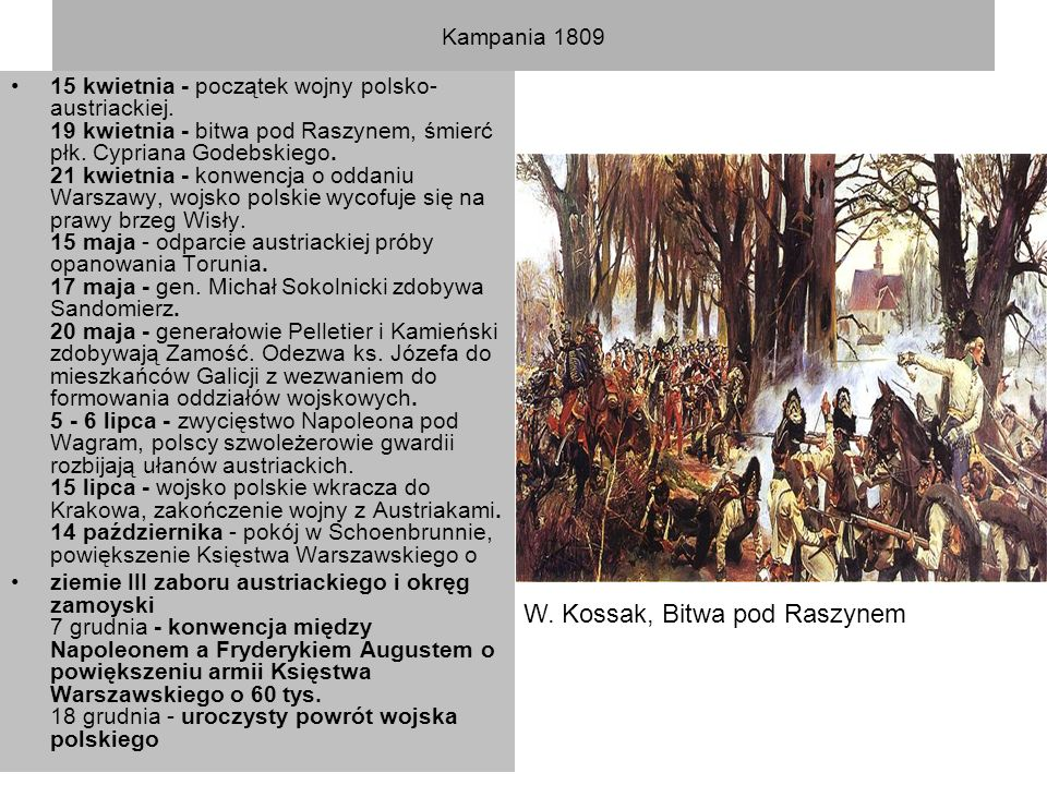 Kampania 1809 15 kwietnia - początek wojny polsko- austriackiej. 19 kwietnia - bitwa pod Raszynem, śmierć płk. Cypriana Godebskiego. 21 kwietnia - kon