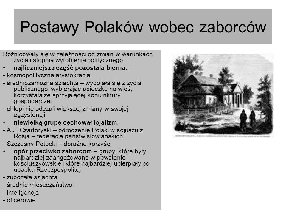 Postawy Polaków wobec zaborców Różnicowały się w zależności od zmian w warunkach życia i stopnia wyrobienia politycznego najliczniejsza część pozostał
