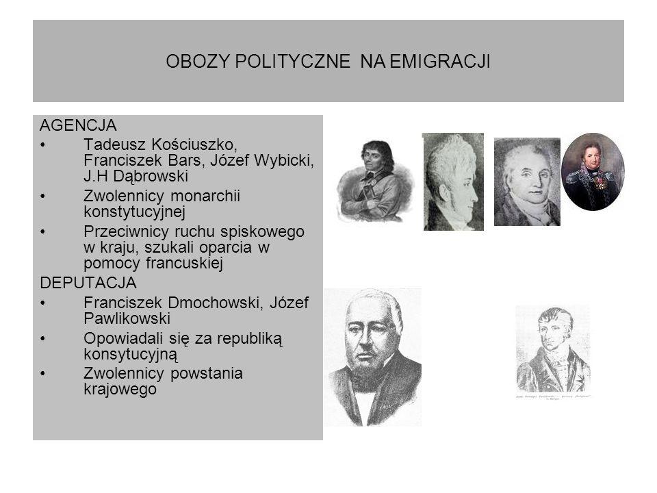 OBOZY POLITYCZNE NA EMIGRACJI AGENCJA Tadeusz Kościuszko, Franciszek Bars, Józef Wybicki, J.H Dąbrowski Zwolennicy monarchii konstytucyjnej Przeciwnic