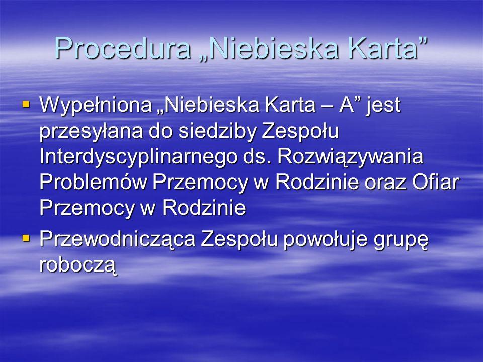 """Procedura """"Niebieska Karta  Wypełniona """"Niebieska Karta – A jest przesyłana do siedziby Zespołu Interdyscyplinarnego ds."""