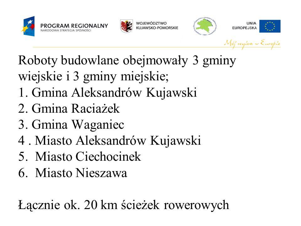 Roboty budowlane obejmowały 3 gminy wiejskie i 3 gminy miejskie; 1. Gmina Aleksandrów Kujawski 2. Gmina Raciażek 3. Gmina Waganiec 4. Miasto Aleksandr