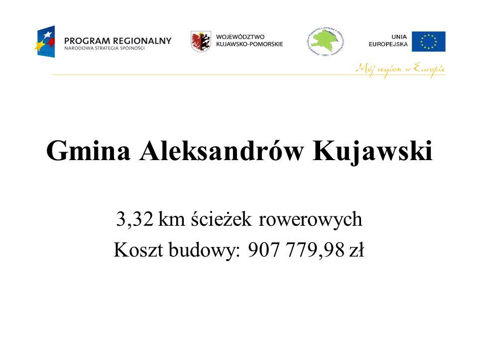 Gmina Aleksandrów Kujawski 3,32 km ścieżek rowerowych Koszt budowy: 907 779,98 zł