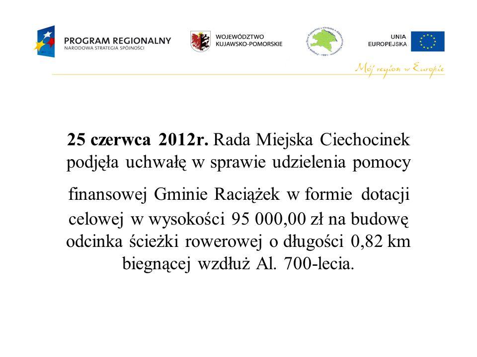 25 czerwca 2012r. Rada Miejska Ciechocinek podjęła uchwałę w sprawie udzielenia pomocy finansowej Gminie Raciążek w formie dotacji celowej w wysokości