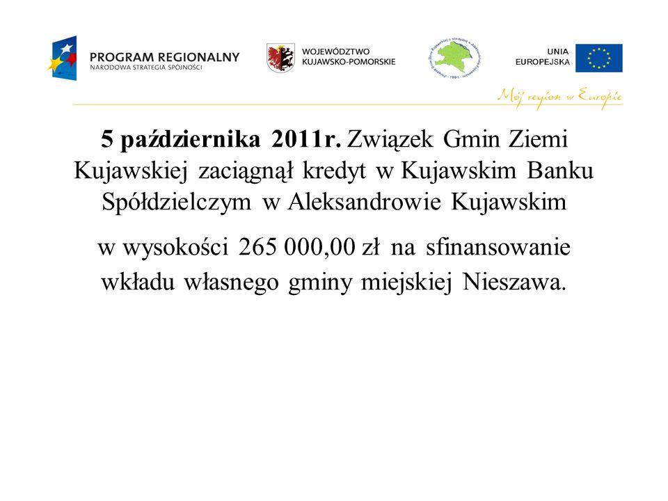5 października 2011r. Związek Gmin Ziemi Kujawskiej zaciągnął kredyt w Kujawskim Banku Spółdzielczym w Aleksandrowie Kujawskim w wysokości 265 000,00