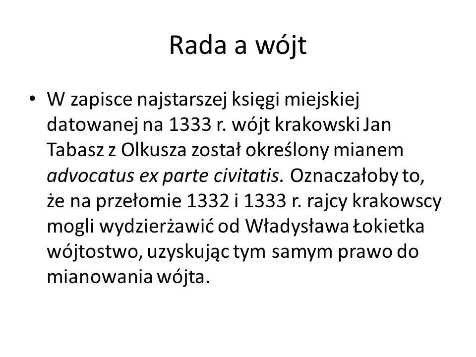 Rada a wójt W zapisce najstarszej księgi miejskiej datowanej na 1333 r.