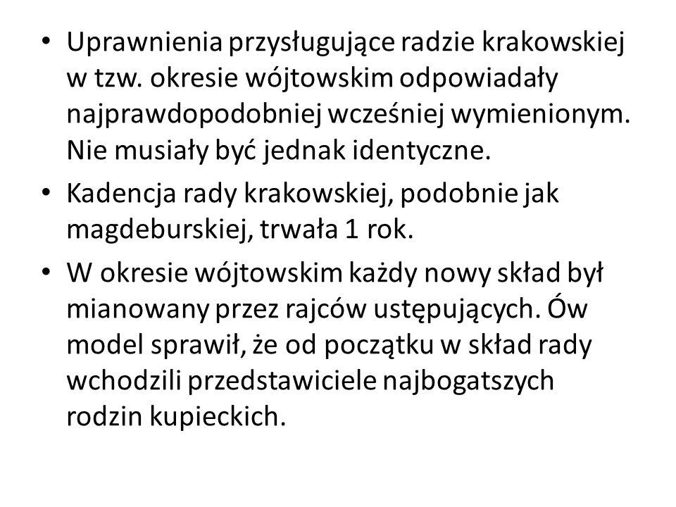 Uprawnienia przysługujące radzie krakowskiej w tzw.