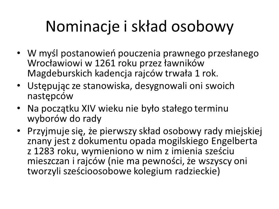 Nominacje i skład osobowy W myśl postanowień pouczenia prawnego przesłanego Wrocławiowi w 1261 roku przez ławników Magdeburskich kadencja rajców trwała 1 rok.