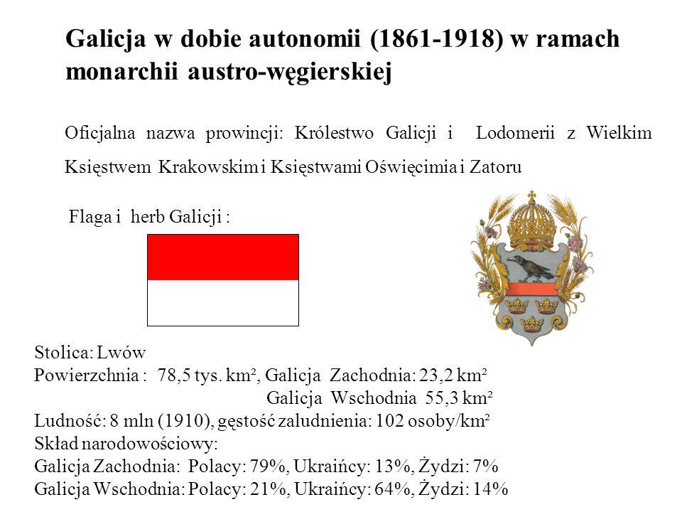 Galicja w dobie autonomii (1861-1918) w ramach monarchii austro-węgierskiej Oficjalna nazwa prowincji: Królestwo Galicji i Lodomerii z Wielkim Księstwem Krakowskim i Księstwami Oświęcimia i Zatoru Flaga i herb Galicji : Stolica: Lwów Powierzchnia : 78,5 tys.