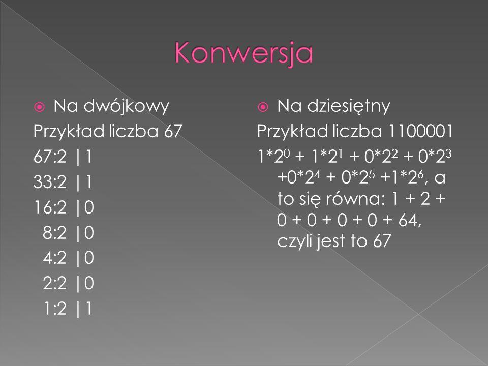  Na dwójkowy Przykład liczba 67 67:2 |1 33:2 |1 16:2 |0 8:2 |0 4:2 |0 2:2 |0 1:2 |1  Na dziesiętny Przykład liczba 1100001 1*2 0 + 1*2 1 + 0*2 2 + 0*2 3 +0*2 4 + 0*2 5 +1*2 6, a to się równa: 1 + 2 + 0 + 0 + 0 + 0 + 64, czyli jest to 67