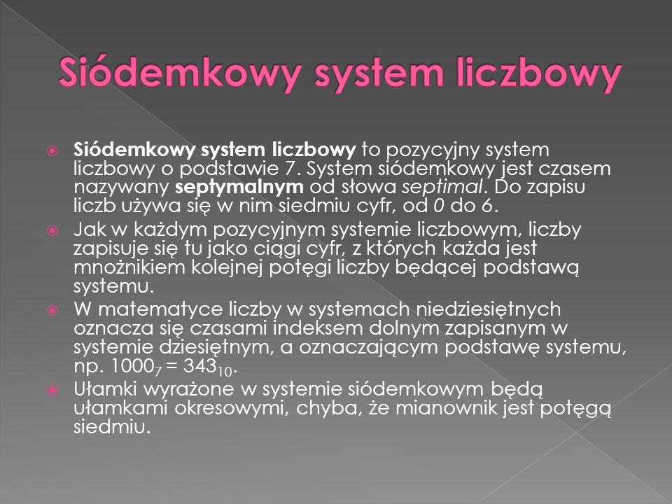  Siódemkowy system liczbowy to pozycyjny system liczbowy o podstawie 7.