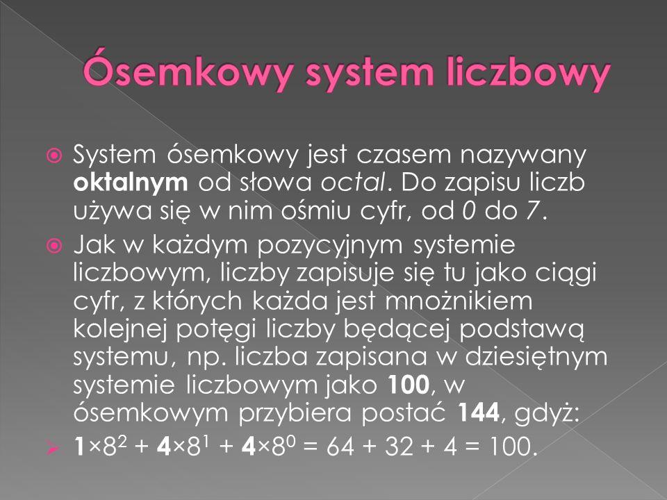  System ósemkowy jest czasem nazywany oktalnym od słowa octal.