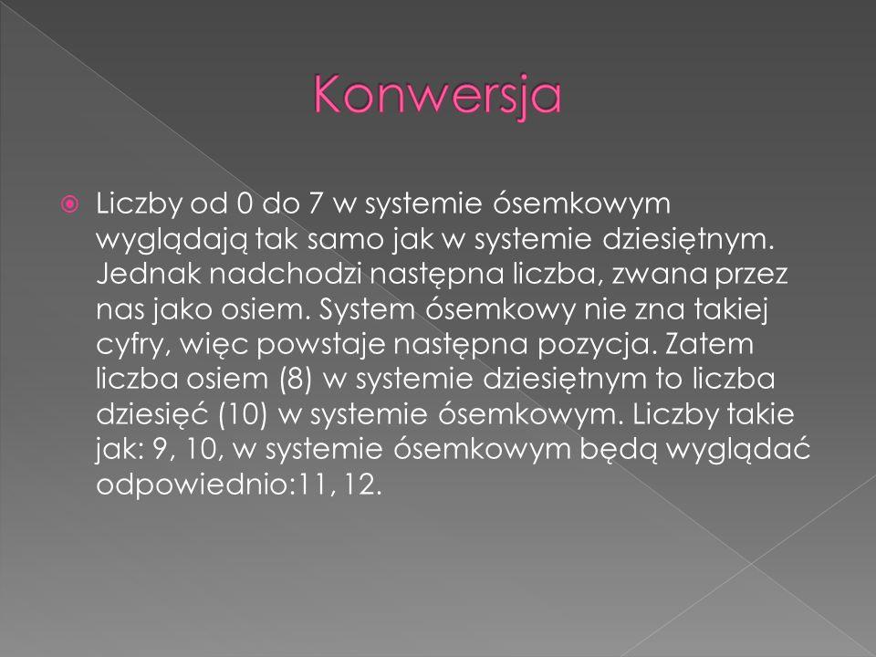  Liczby od 0 do 7 w systemie ósemkowym wyglądają tak samo jak w systemie dziesiętnym.