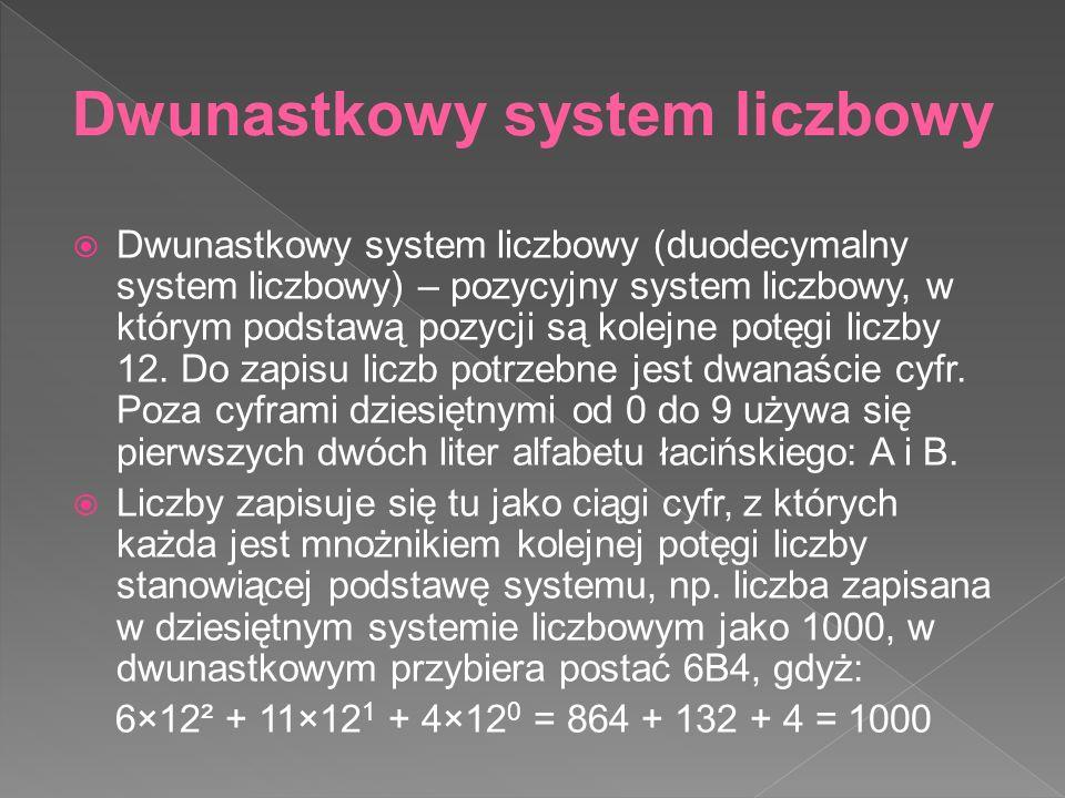  Dwunastkowy system liczbowy (duodecymalny system liczbowy) – pozycyjny system liczbowy, w którym podstawą pozycji są kolejne potęgi liczby 12.