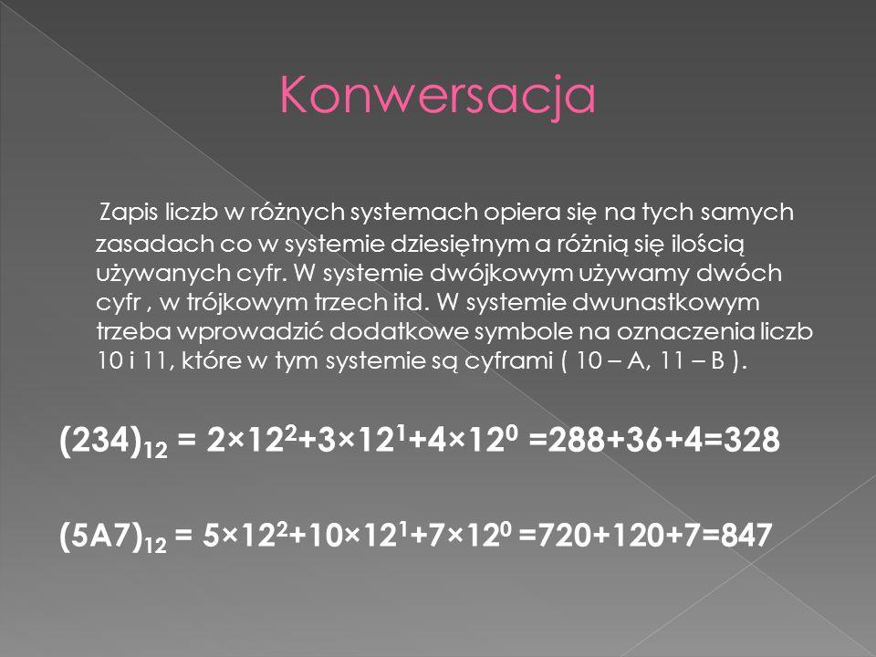 Zapis liczb w różnych systemach opiera się na tych samych zasadach co w systemie dziesiętnym a różnią się ilością używanych cyfr.