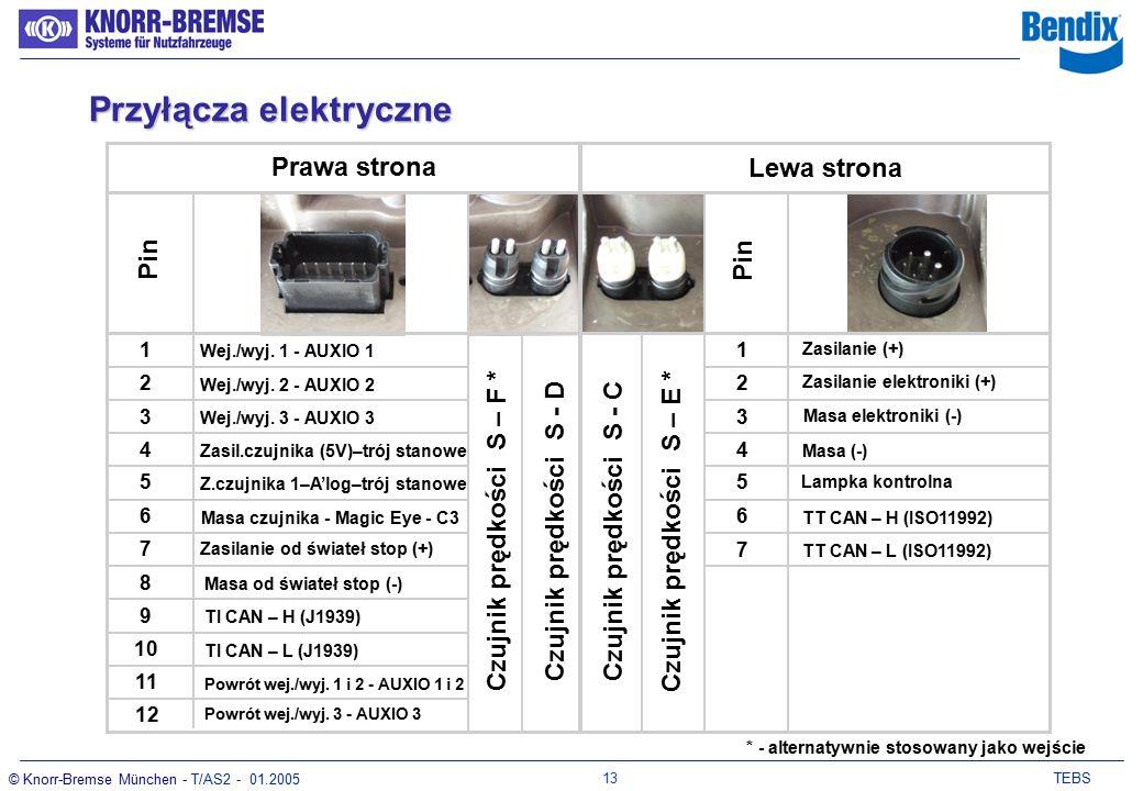 12 TEBS © Knorr-Bremse München - T/AS2 - 01.2005 Dostęp od góry Dostęp z boku Integralność:brak problemów Obsługa: często brak widoczności Integralność:Takie same przyłącza Zwrócone w dół Obsługa: dobra widoczność łatwy dostęp Przyłącza elektryczne