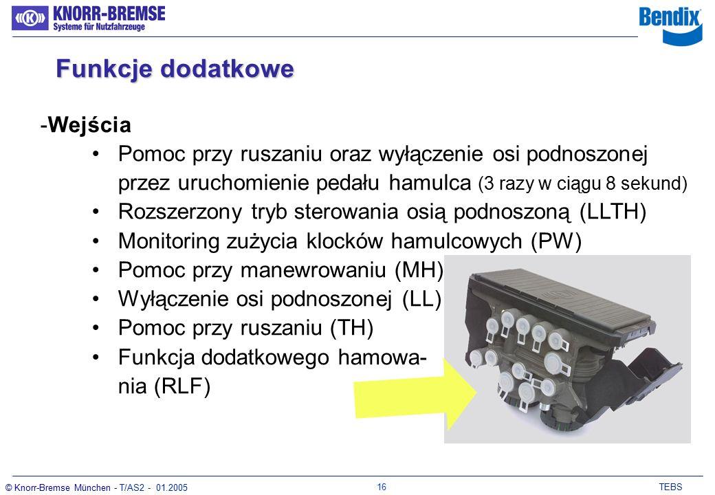 15 TEBS © Knorr-Bremse München - T/AS2 - 01.2005 Funkcje dodatkowe -Wyjścia Sterowanie osią podnoszoną (LAC) Powrót zawieszenia do poziomu jazdy (SP) Sygnał zależny od prędkości (ISS) Blokada osi skrętnej (SAL) Kąt pochylenia (TA) Zasilanie 6,12 lub 24V RSP krok 1 RSP krok 2