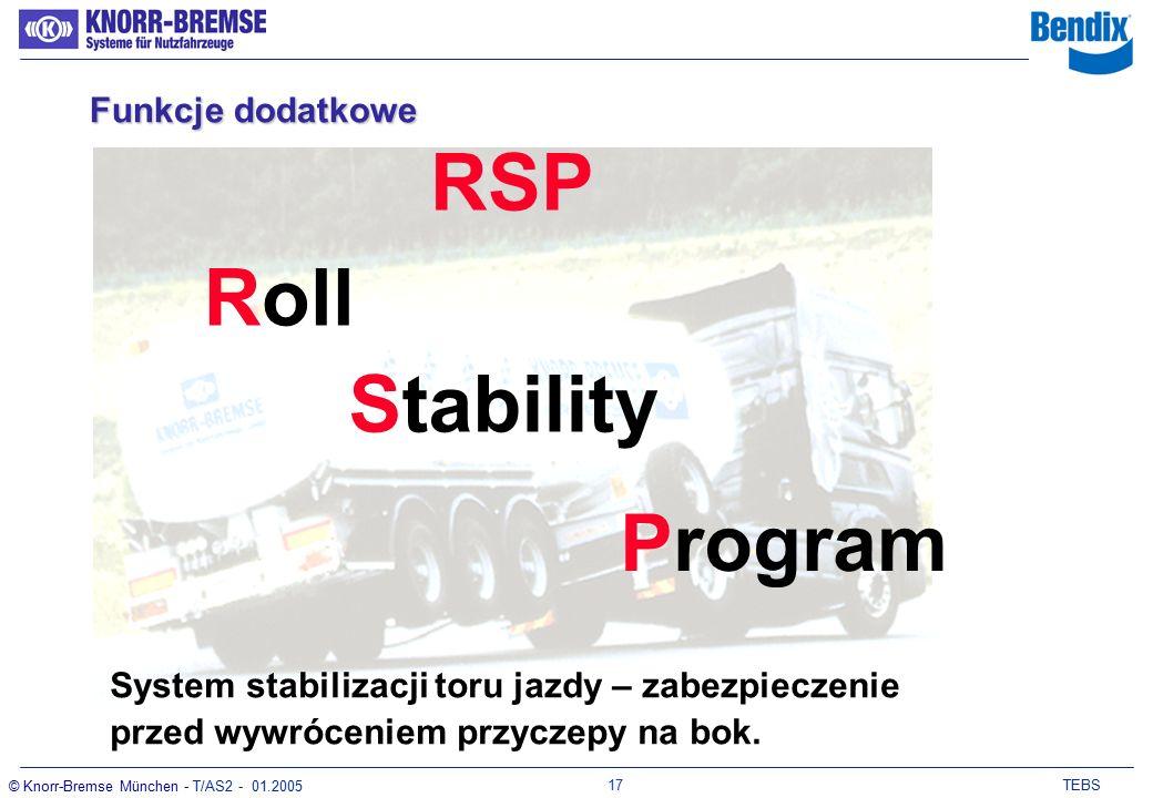 16 TEBS © Knorr-Bremse München - T/AS2 - 01.2005 -Wejścia Pomoc przy ruszaniu oraz wyłączenie osi podnoszonej przez uruchomienie pedału hamulca (3 razy w ciągu 8 sekund) Rozszerzony tryb sterowania osią podnoszoną (LLTH) Monitoring zużycia klocków hamulcowych (PW) Pomoc przy manewrowaniu (MH) Wyłączenie osi podnoszonej (LL) Pomoc przy ruszaniu (TH) Funkcja dodatkowego hamowa- nia (RLF) Funkcje dodatkowe