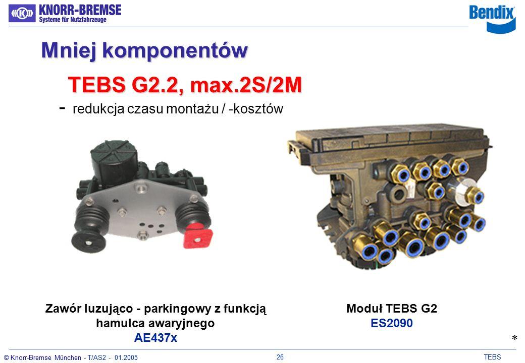 25 TEBS © Knorr-Bremse München - T/AS2 - 01.2005 - redukcja czasu montażu / -kosztów Zawór luzująco - parkingowy z funkcją hamulca awaryjnego AE437x Mniej komponentów * Moduł TEBS G2 ES2060 TEBS G2.1