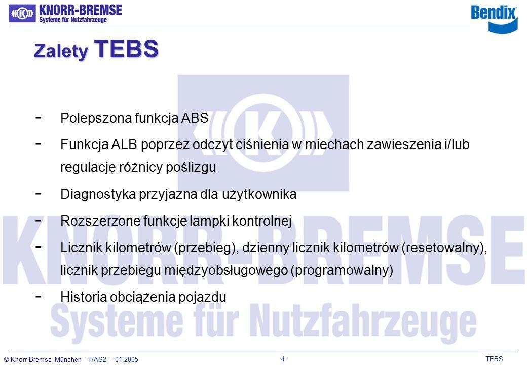 3 TEBS © Knorr-Bremse München - T/AS2 - 01.2005 Zalety TEBS Większe bezpieczeństwo - optymalna regulacja poprzez parametryzację - krótsza droga hamowania krótszy czas reakcji - lepsza stabilizacja jazdy - stosowanie sygnału CAN z pojazdu ciągnącego rosnąca liczba pojazdów ciągnących wyposażonych w EBS optymalny rozkład sił hamowania - pneumatyczne sterowanie przy uszkodzeniu sterowania elektronicznego