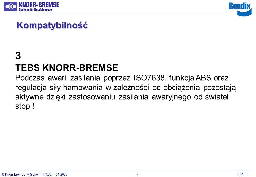 6 TEBS © Knorr-Bremse München - T/AS2 - 01.2005 KompatybilnośćKompatybilność 2 TEBS z pojazdem ciągnącym wyposażonym w konwencjonalny układ hamulcowy Zasilanie poprzez ISO7638 Stałe zasilanie jest obowiązkowe !