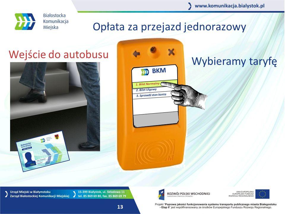 12 Opłata za przejazd jednorazowy BKM 1. Bilet Normalny 2.