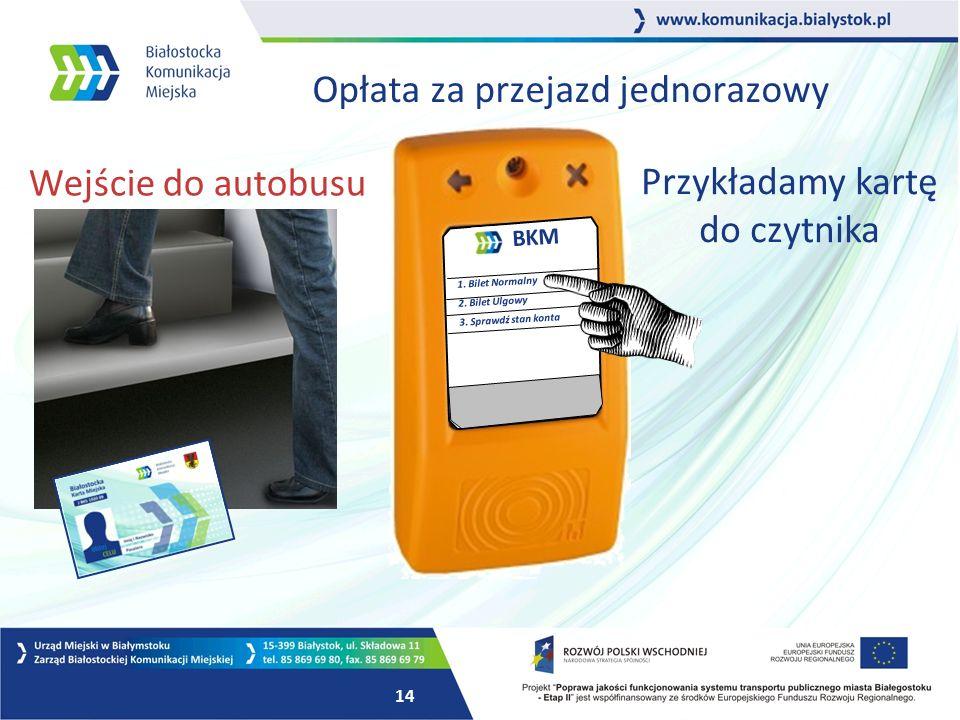 13 Opłata za przejazd jednorazowy BKM 1. Bilet Normalny 2.