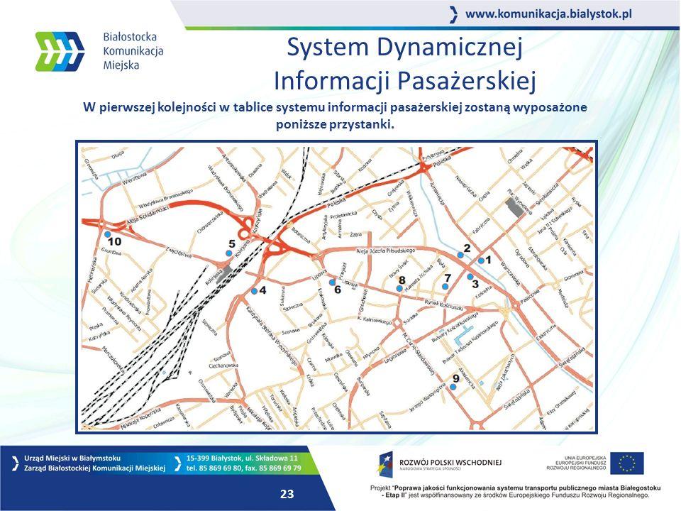 22 System Dynamicznej Informacji Pasażerskiej Białostocki system za pomocą GPS będzie na bieżąco monitorował pozycję wszystkich autobusów i wyświetlał na przystankach RZECZYWISTY czas odjazdu, uwzględniając wszelkie utrudnienia w ruchu.