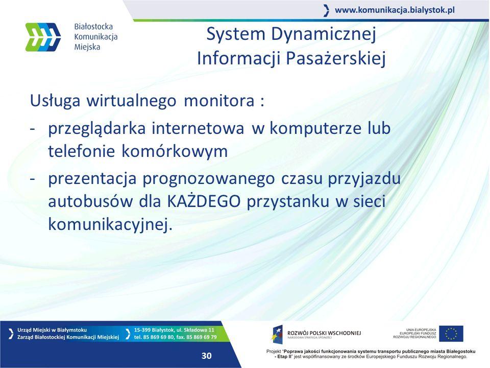29 System Dynamicznej Informacji Pasażerskiej Planując wprowadzenie systemu dołożyliśmy szczególnej staranności w zakresie dostosowania systemu do potrzeb wszystkich mieszkańców miasta.