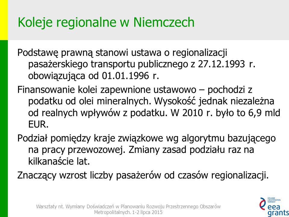 Koleje regionalne w Niemczech Podstawę prawną stanowi ustawa o regionalizacji pasażerskiego transportu publicznego z 27.12.1993 r.