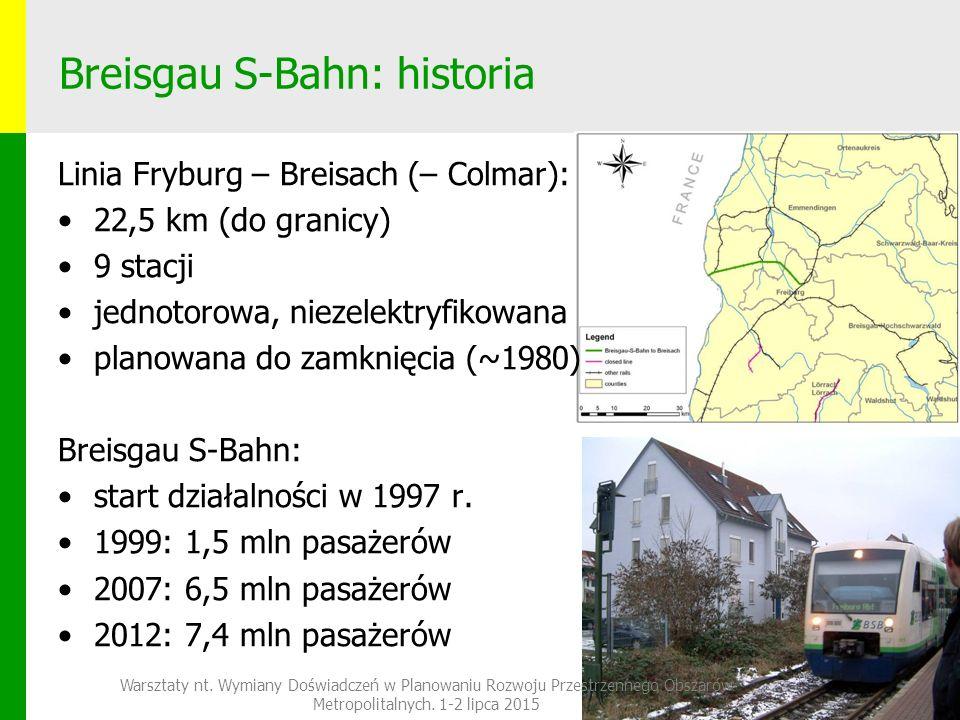 Breisgau S-Bahn: historia Linia Fryburg – Breisach (– Colmar): 22,5 km (do granicy) 9 stacji jednotorowa, niezelektryfikowana planowana do zamknięcia (~1980) Breisgau S-Bahn: start działalności w 1997 r.