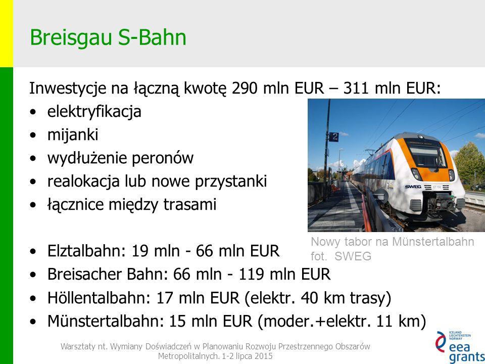 Breisgau S-Bahn Inwestycje na łączną kwotę 290 mln EUR – 311 mln EUR: elektryfikacja mijanki wydłużenie peronów realokacja lub nowe przystanki łącznice między trasami Elztalbahn: 19 mln - 66 mln EUR Breisacher Bahn: 66 mln - 119 mln EUR Höllentalbahn: 17 mln EUR (elektr.
