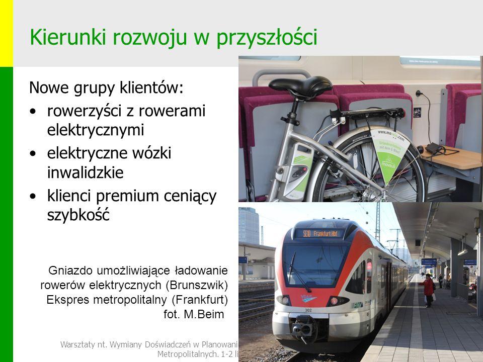 Kierunki rozwoju w przyszłości Nowe grupy klientów: rowerzyści z rowerami elektrycznymi elektryczne wózki inwalidzkie klienci premium ceniący szybkość Warsztaty nt.