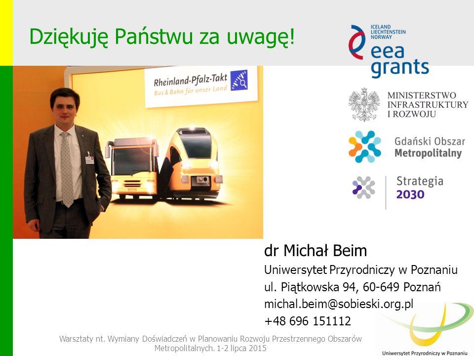 Dziękuję Państwu za uwagę. dr Michał Beim Uniwersytet Przyrodniczy w Poznaniu ul.