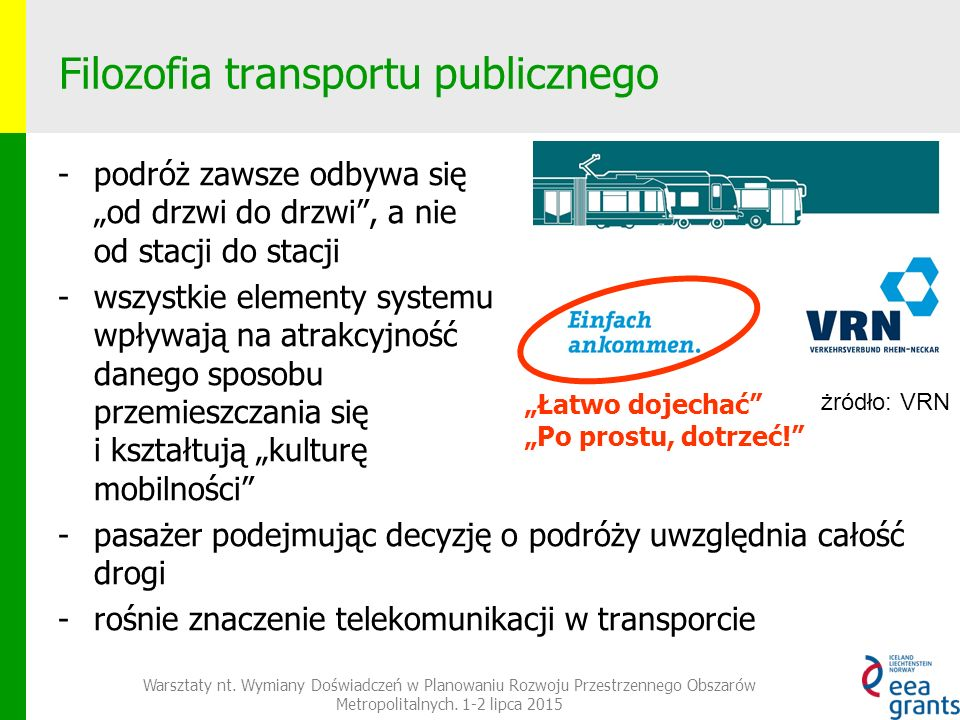 """Filozofia transportu publicznego -podróż zawsze odbywa się """"od drzwi do drzwi , a nie od stacji do stacji -wszystkie elementy systemu wpływają na atrakcyjność danego sposobu przemieszczania się i kształtują """"kulturę mobilności -pasażer podejmując decyzję o podróży uwzględnia całość drogi -rośnie znaczenie telekomunikacji w transporcie """"Łatwo dojechać """"Po prostu, dotrzeć! żródło: VRN Warsztaty nt."""