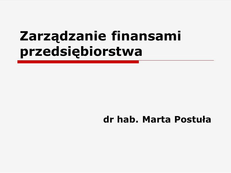 Zarządzanie finansami przedsiębiorstwa dr hab. Marta Postuła