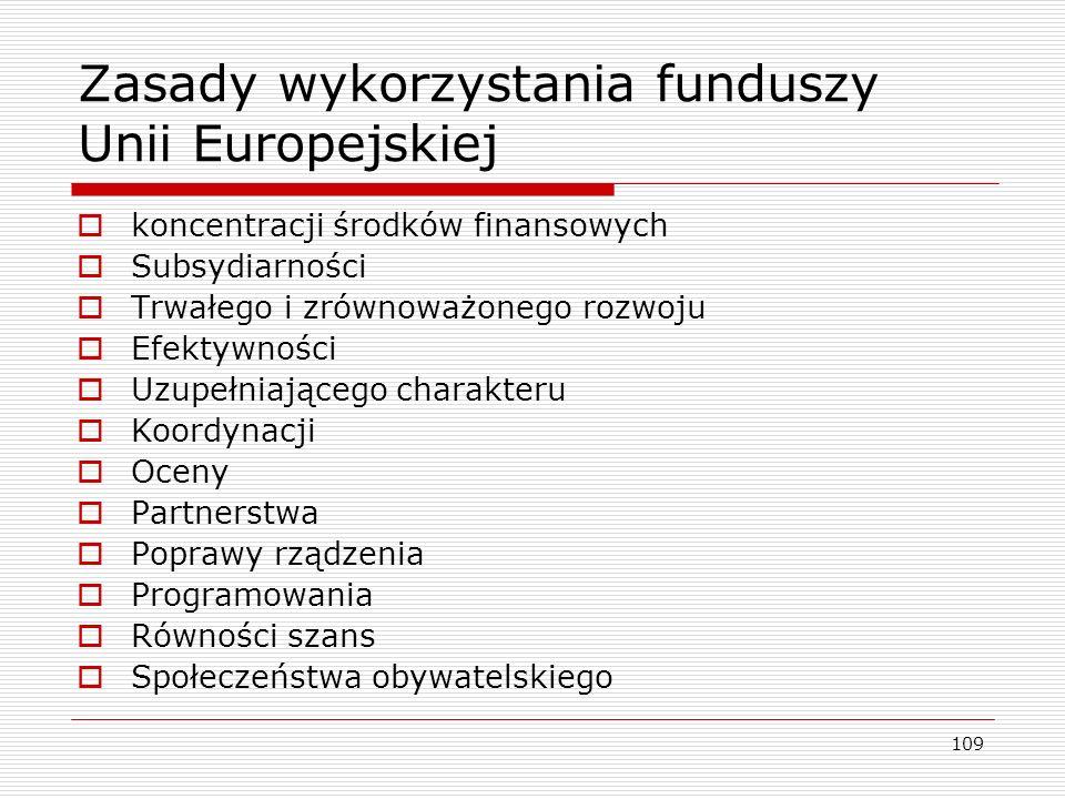109 Zasady wykorzystania funduszy Unii Europejskiej  koncentracji środków finansowych  Subsydiarności  Trwałego i zrównoważonego rozwoju  Efektywn