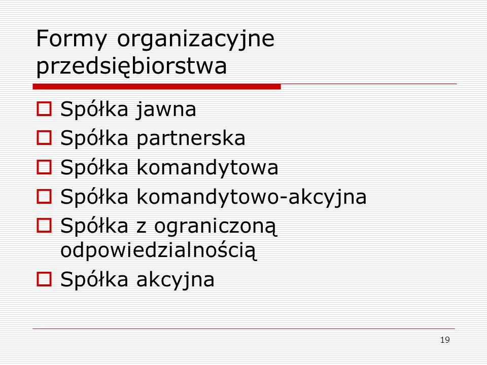 19 Formy organizacyjne przedsiębiorstwa  Spółka jawna  Spółka partnerska  Spółka komandytowa  Spółka komandytowo-akcyjna  Spółka z ograniczoną od