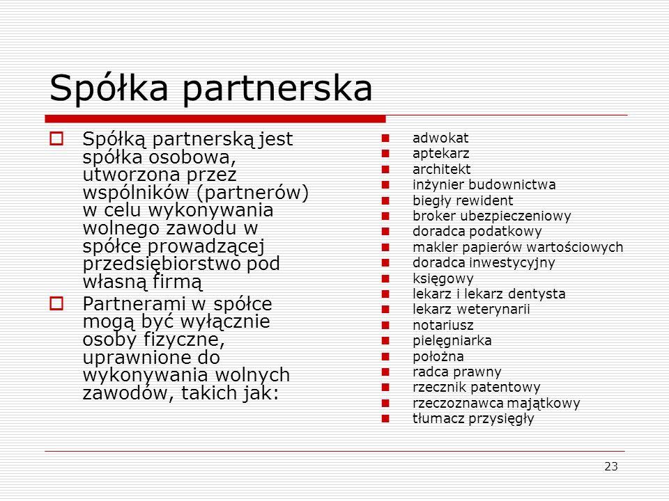 23 Spółka partnerska  Spółką partnerską jest spółka osobowa, utworzona przez wspólników (partnerów) w celu wykonywania wolnego zawodu w spółce prowad