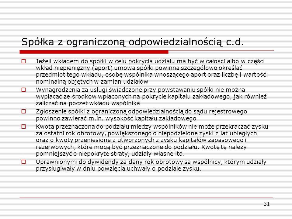 31 Spółka z ograniczoną odpowiedzialnością c.d.  Jeżeli wkładem do spółki w celu pokrycia udziału ma być w całości albo w części wkład niepieniężny (