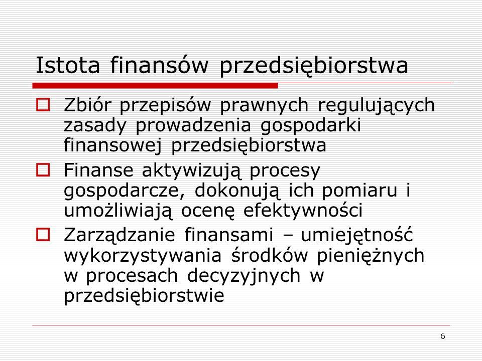 6 Istota finansów przedsiębiorstwa  Zbiór przepisów prawnych regulujących zasady prowadzenia gospodarki finansowej przedsiębiorstwa  Finanse aktywiz