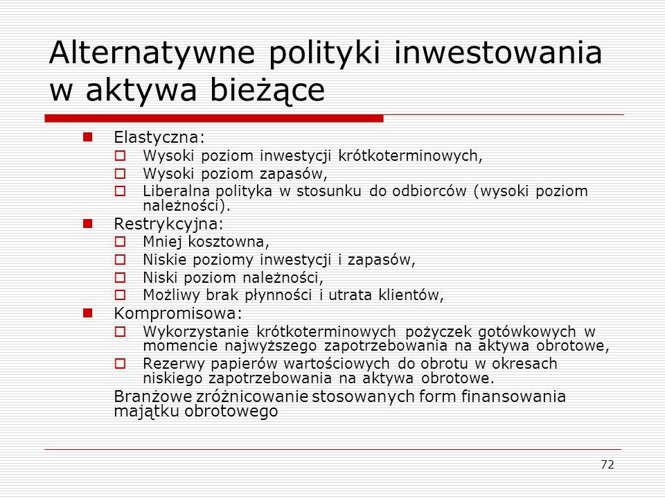 72 Alternatywne polityki inwestowania w aktywa bieżące Elastyczna:  Wysoki poziom inwestycji krótkoterminowych,  Wysoki poziom zapasów,  Liberalna