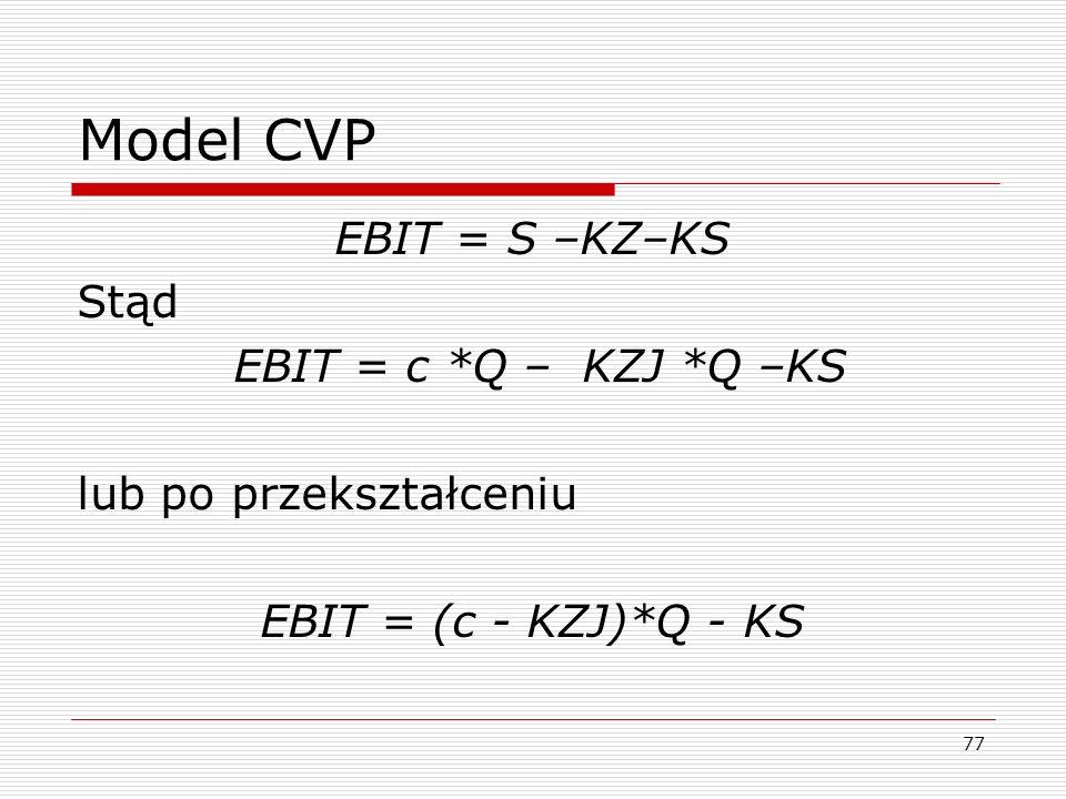 Model CVP EBIT = S –KZ–KS Stąd EBIT = c *Q – KZJ *Q –KS lub po przekształceniu EBIT = (c - KZJ)*Q - KS 77