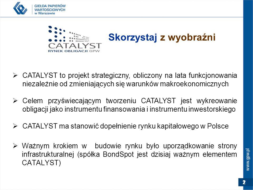 2 Skorzystaj z wyobraźni  CATALYST to projekt strategiczny, obliczony na lata funkcjonowania niezależnie od zmieniających się warunków makroekonomicznych  Celem przyświecającym tworzeniu CATALYST jest wykreowanie obligacji jako instrumentu finansowania i instrumentu inwestorskiego  CATALYST ma stanowić dopełnienie rynku kapitałowego w Polsce  Ważnym krokiem w budowie rynku było uporządkowanie strony infrastrukturalnej (spółka BondSpot jest dzisiaj ważnym elementem CATALYST)