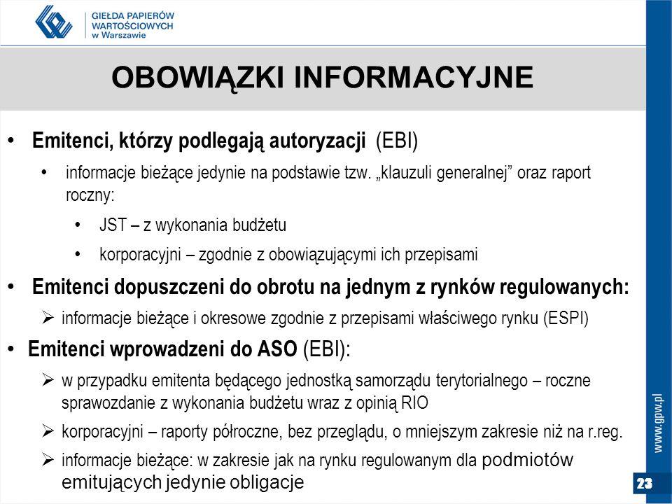 23 OBOWIĄZKI INFORMACYJNE Emitenci, którzy podlegają autoryzacji (EBI) informacje bieżące jedynie na podstawie tzw.