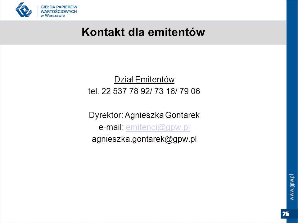25 Kontakt dla emitentów Dział Emitentów tel.