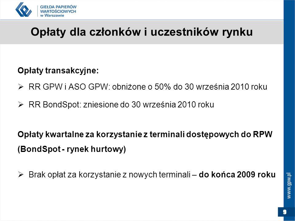 9 Opłaty dla członków i uczestników rynku Opłaty transakcyjne:  RR GPW i ASO GPW: obniżone o 50% do 30 września 2010 roku  RR BondSpot: zniesione do 30 września 2010 roku Opłaty kwartalne za korzystanie z terminali dostępowych do RPW (BondSpot - rynek hurtowy)  Brak opłat za korzystanie z nowych terminali – do końca 2009 roku